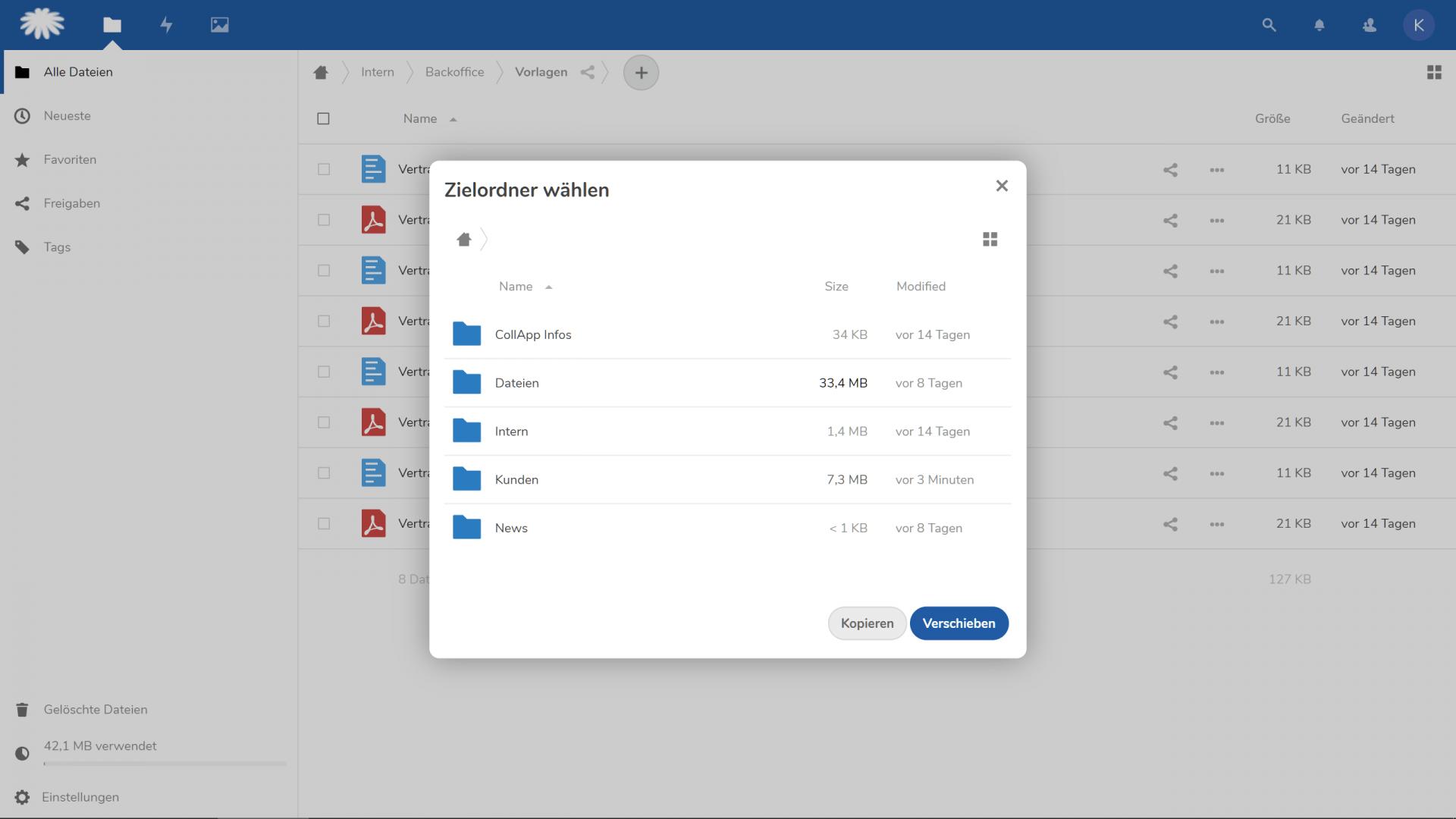 Einzelne Datei verschieben oder kopieren