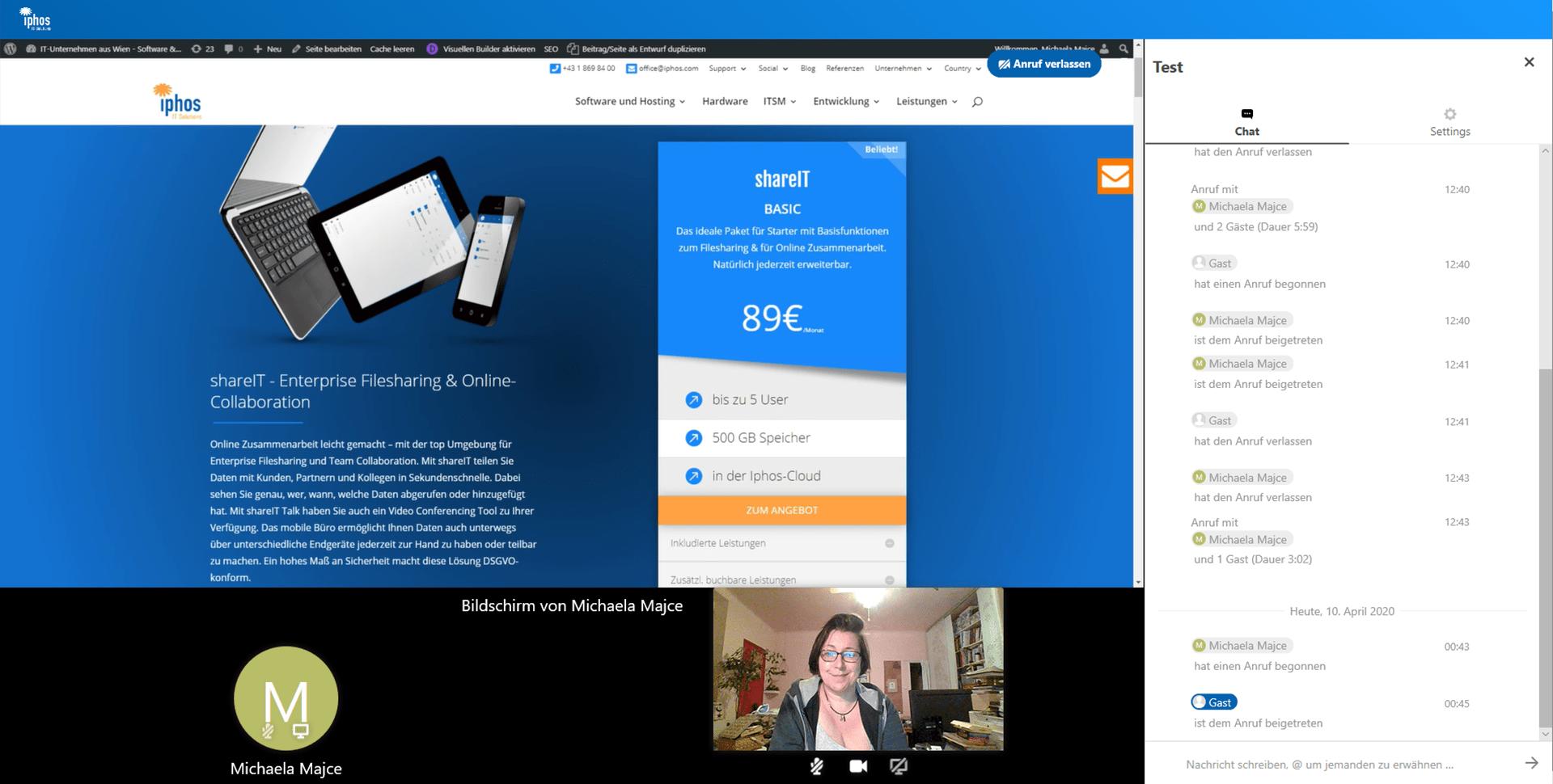Bildschirm während dem Video Call teilen