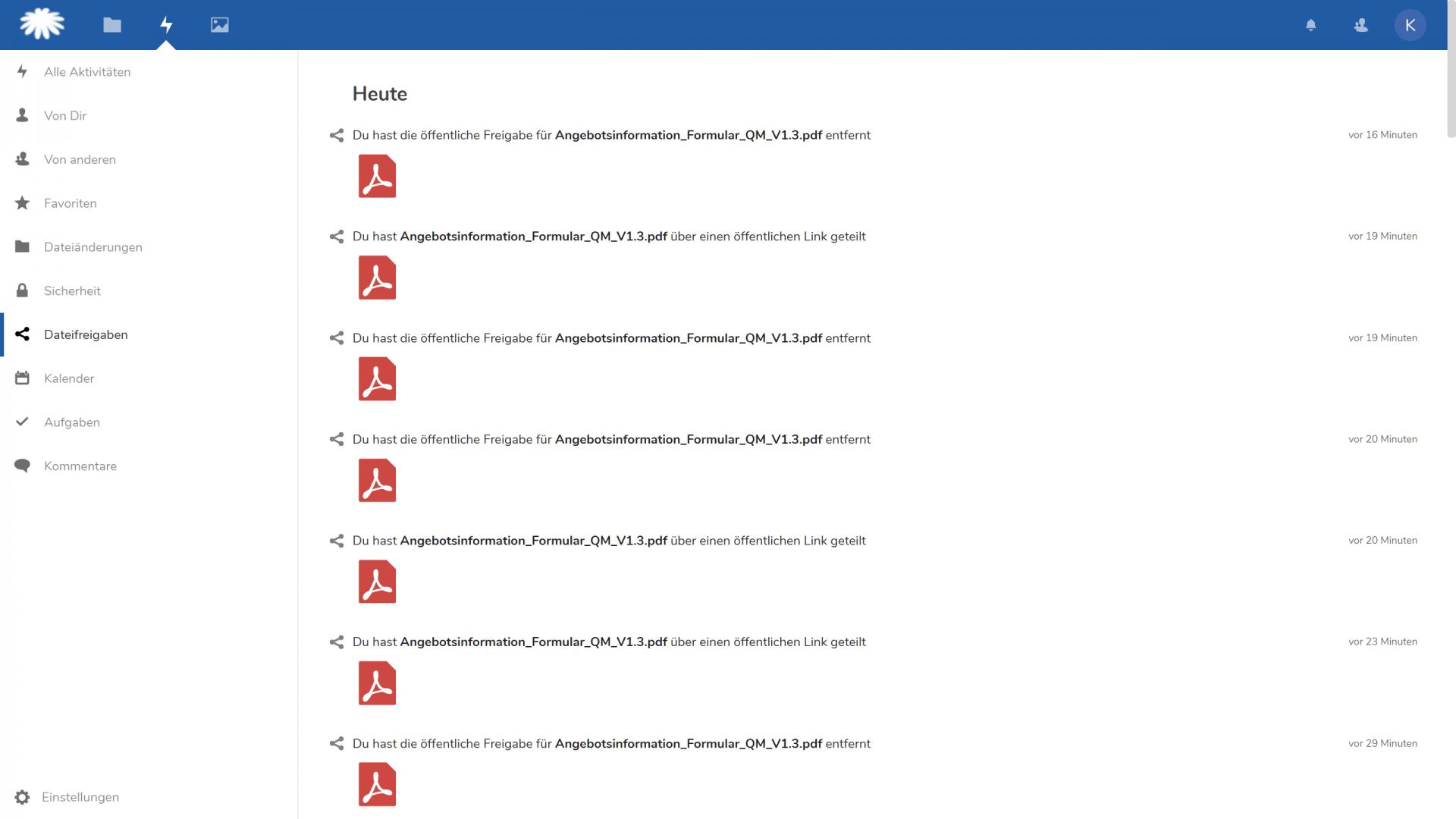 Dateifreigaben nachverfolgen